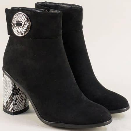 Черни дамски боти със змийски принт на висок ток 1181859nch