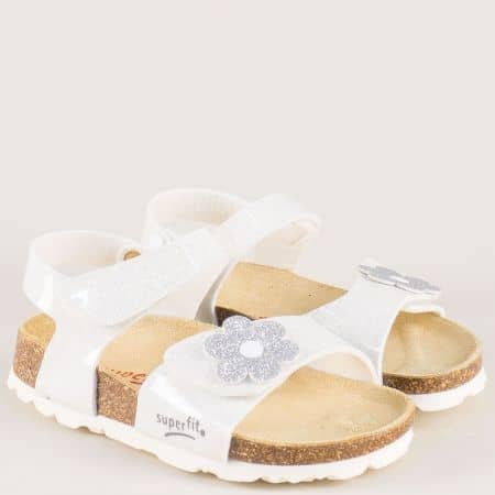 Бели детски сандали с брокат и две лепки- анатомични 11850-30b