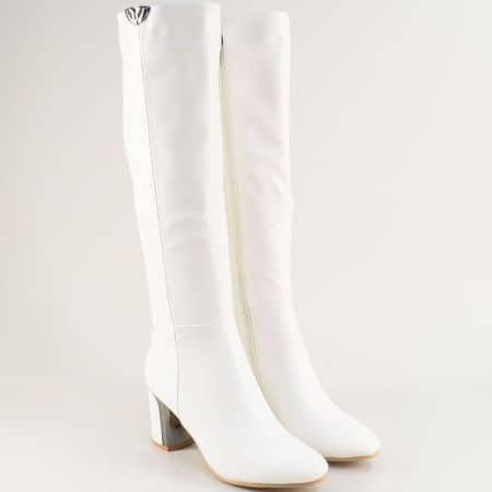 Бели дамски ботуши на висок ток с декорация- ELIZA 1186268b