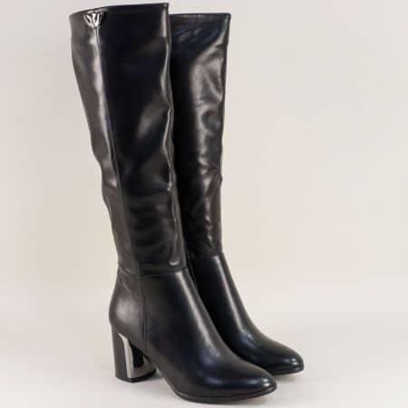 Дамски ботуши на интересен висок ток в черен цвят 1186268ch
