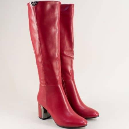 Дамски ботуши на висок ток в червен цвят- ELIZA 1186268chv