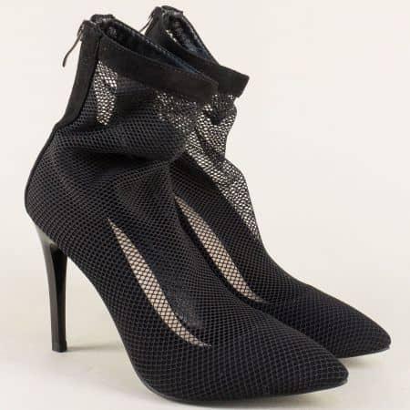 Летни дамски боти в черен цвят на елегантен висок ток- ELIZA 1187191ch