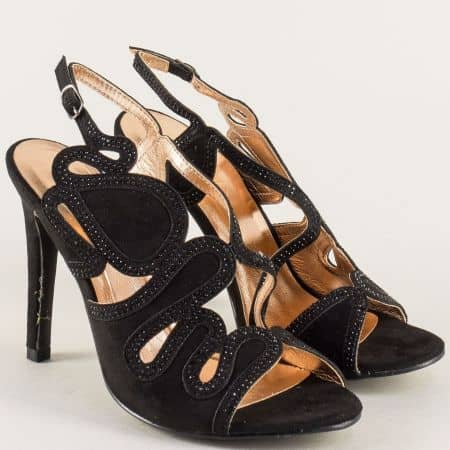 Дамски сандали на елегантен висок ток в черен цвят 12002vch
