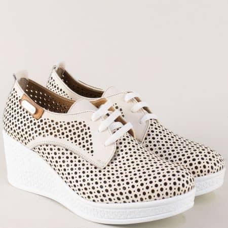 Дамски обувки от бежова естествена кожа с перфорация 120143bj