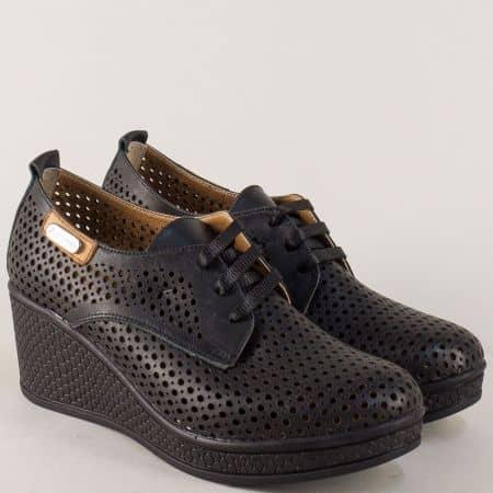 Черни дамски обувки на платформа с кожена стелка 120143ch