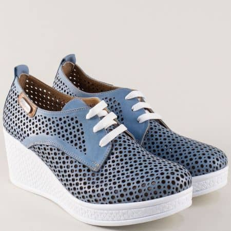 Сини дамски обувки от перфорирана естествена кожа 120143s