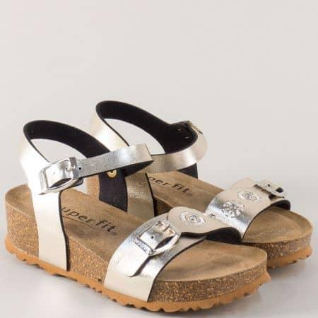 Златни детски сандали с две катарами и кожена стелка 12014zl