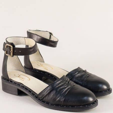 Черни дамски сандали със затворени пръсти и пета 120318ch