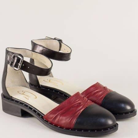 Български дамски сандали в черно и бордо на нисък ток 120318chbd