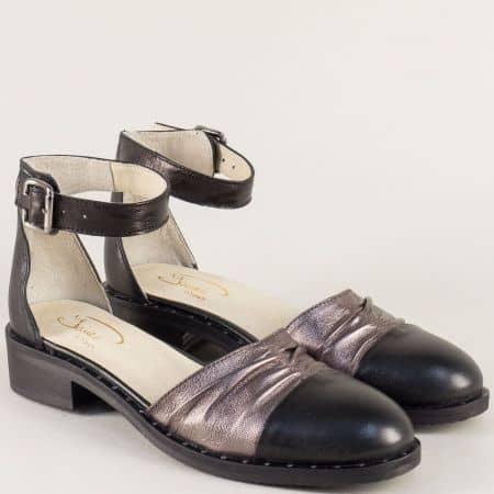 Кожени дамски сандали в черно и бронз на нисък ток 120318chbrz