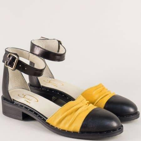 Дамски сандали в черно и жълто с кожена стелка 120318chj