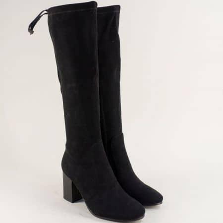 Стилни черни дамски ботуши на висок ток 12097509vch