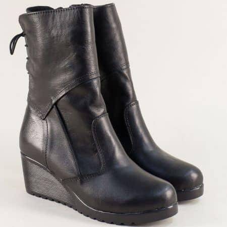 Дамски боти на клин ходило с цип и връзки в черен цвят 1211707ch