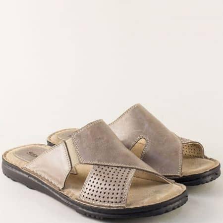 Кожени мъжки чехли в бежов цвят на равно ходило 1217657bj