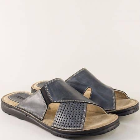 Черни мъжки чехли на шито ходило с велурена стелка 1217657ch