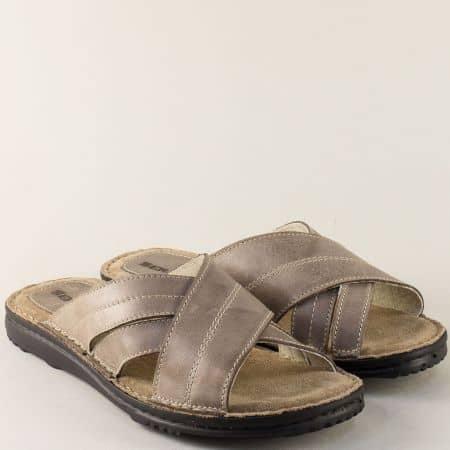 Шити мъжки чехли от естествена кожа в бежов цвят 12176bj