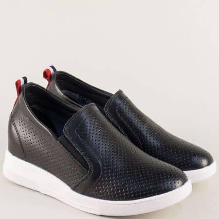 Черни дамски обувки на скрита платформа с два ластика 122126ch