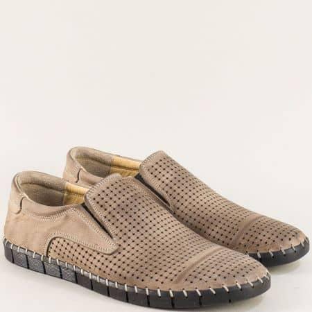 Перфорирани мъжки обувки от естествена кожа в бежово 1221502bj