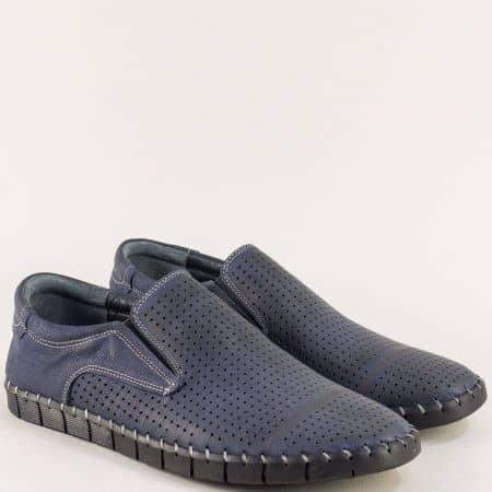 Кожени мъжки обувки в син цвят с перфорация и ластик 1221502s
