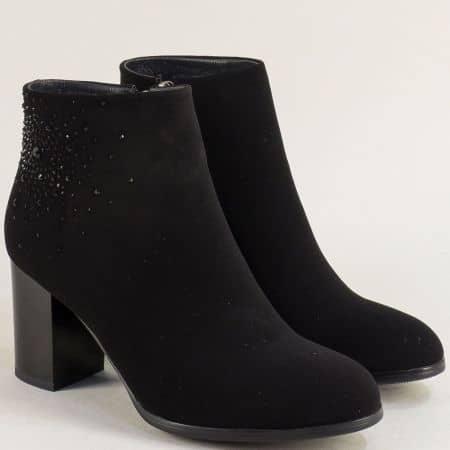 Дамски боти в черен цвят на стабилен висок ток- ELIZA 122373nch