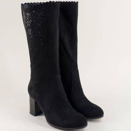 Стилни дамски ботуши на висок ток в черен цвят 12237537vch