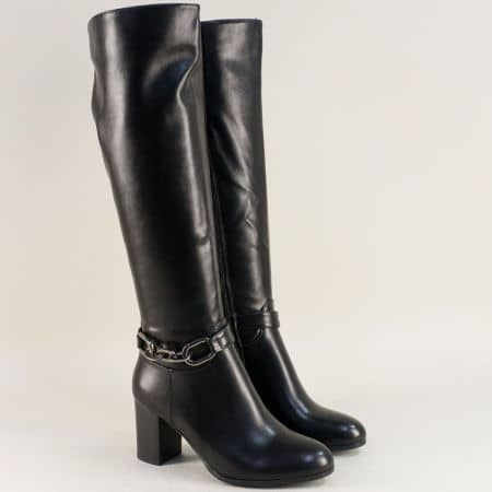 Стилни дамски ботуши на среден ток в черен цвят Eliza 1223783ch