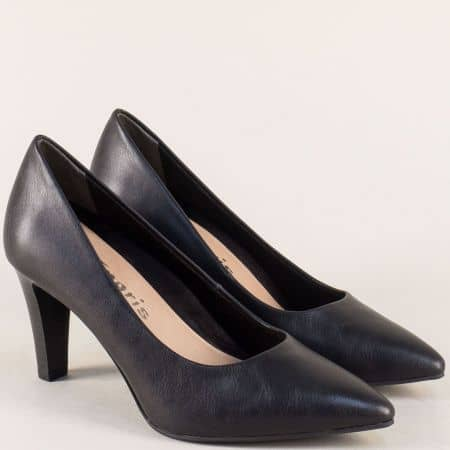 Кожени дамски обувки в черен цвят на елегантен ток 122409ch
