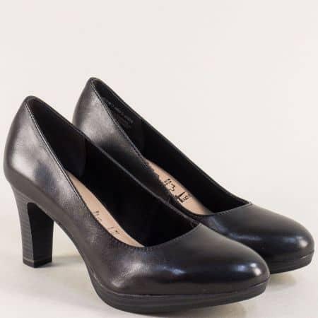 Черни дамски обувки Tamaris на висок ток от естествена кожа 12241022ch