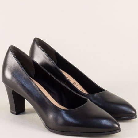 Черни дамски обувки на висок ток от естествена кожа 122422ch