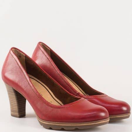 Кожени, червени дамски обувки- Tamaris на висок ток с Anti-shock и кожена стелка 122425chv