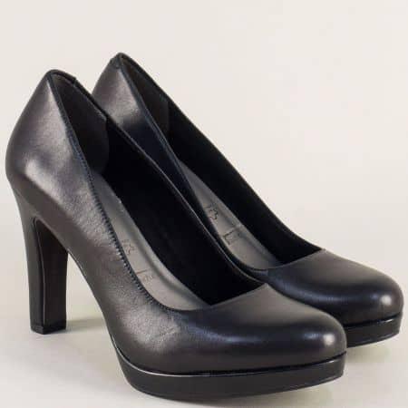 Дамски обувки Tamaris от естествена кожа в черен цвят на висок ток 122437ch