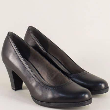Кожени дамски обувки Tamaris в черен цвят на висок ток с Anti- shock система 122471ch