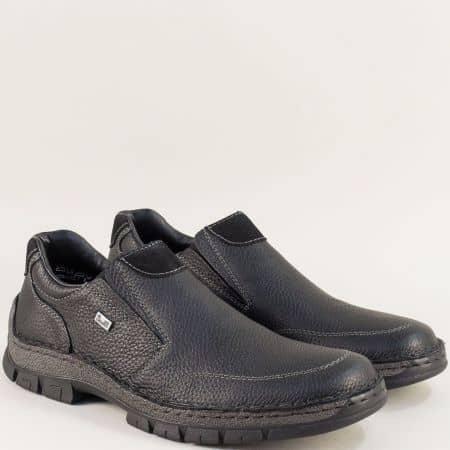 Мъжки обувки Rieker от естествена кожа в черен цвят  12262ch