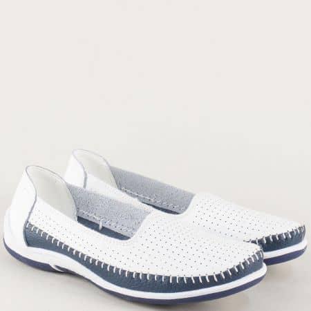 Перфорирани дамски обувки от бяла естествена кожа 12271b