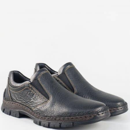 Кожени мъжки обувки с комфортно, шито ходило- Rieker в черен цвят 12272ch