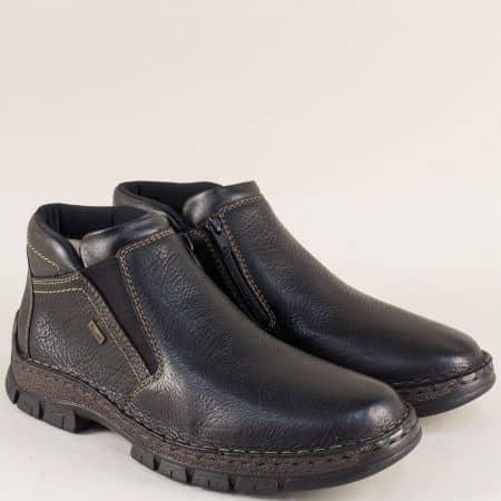 Кожени мъжки боти в черен цвят на шито ходило- Rieker  12282ch