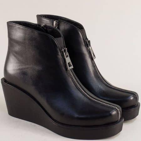 Черни дамски боти кожа на платформа 123279ch