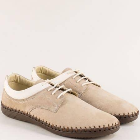 Бежови мъжки обувки с връзки от естествен набук 12352nbj