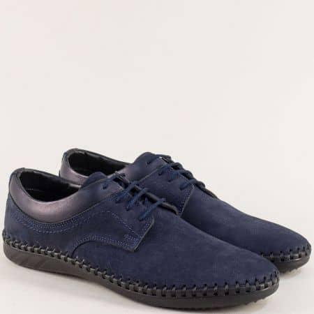 Сини мъжки обувки на равно ходило с кожена стелка 12352ns