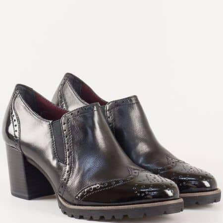 Стилни дамски обувки на висок ток- Tamaris от черна естествена кожа 124400ch
