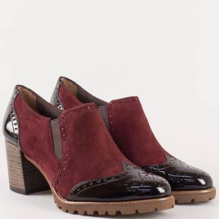 Дамски обувки в цвят бордо на висок ток - Tamaris с кожена Memory стелка  124400vbd