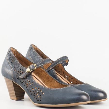 Дамски стилни обувки от висококачествена естествена кожа с вградена Antishokk система на немския производител Tamaris в син цвят 124411s