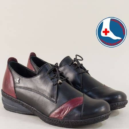 Ортопедични дамски обувки с връзки в черно и бордо 1244120chbd