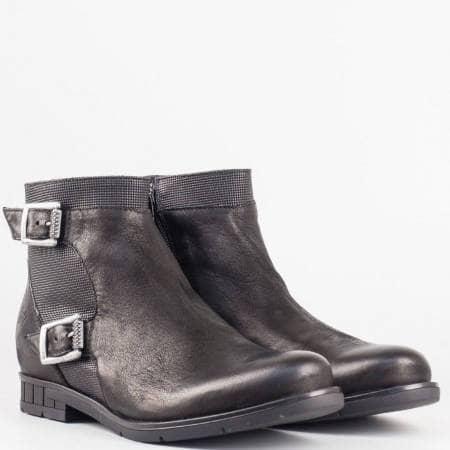 Дамски стилни боти от изцяло естествена кожа на водещ български производител в черен цвят 1247ch