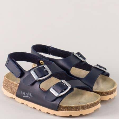 Сини детски сандали с две катарами и коланче с лепка 12480-30s