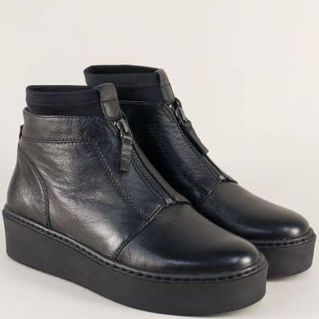 Черни дамски боти от естествена кожа на платформа 125499ch