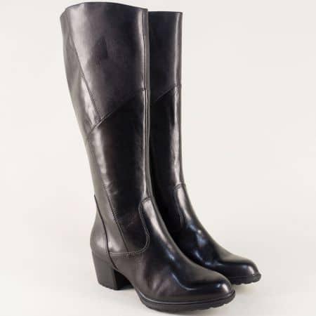 Черни дамски ботуши на среден ток от естествена кожа 125508ch