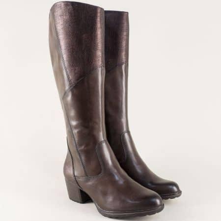 Кожени дамски ботуши- Tamaris на среден ток в тъмно кафяв цвят 125508kk