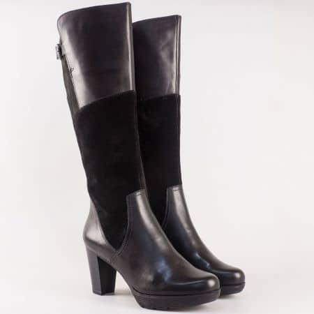 Черни дамски ботуши- Tamaris от естествена кожа и велур на висок ток 125515ch
