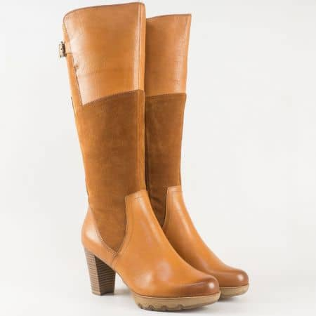 Кафяви дамски ботуши на висок ток с Anti-shock от естествена кожа- Tamaris  125515k